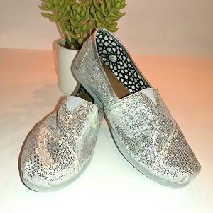 Silver Sparkle Toms Canvas Size 9